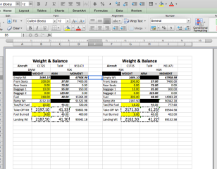 Portion of Weight & Balance Document