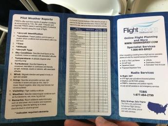 Flight Service weather briefing handout.